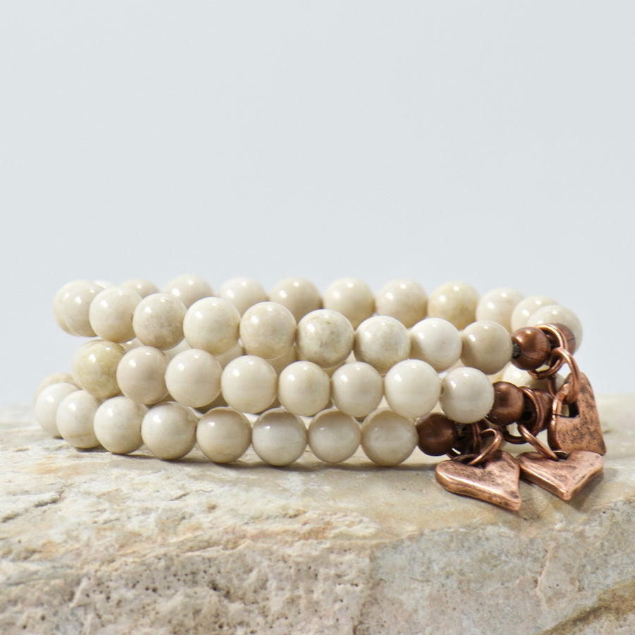 Rustic Heart Natural Riverstone Gemstone Bracelet | Bohemian Jewelry