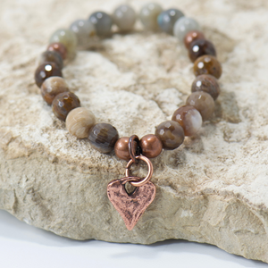 Rustic Heart Labradorite Brown Mix Bracelet