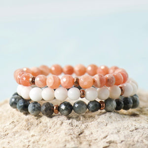 Peach Moonstone Gemstone Copper Stretch Boho Bracelet