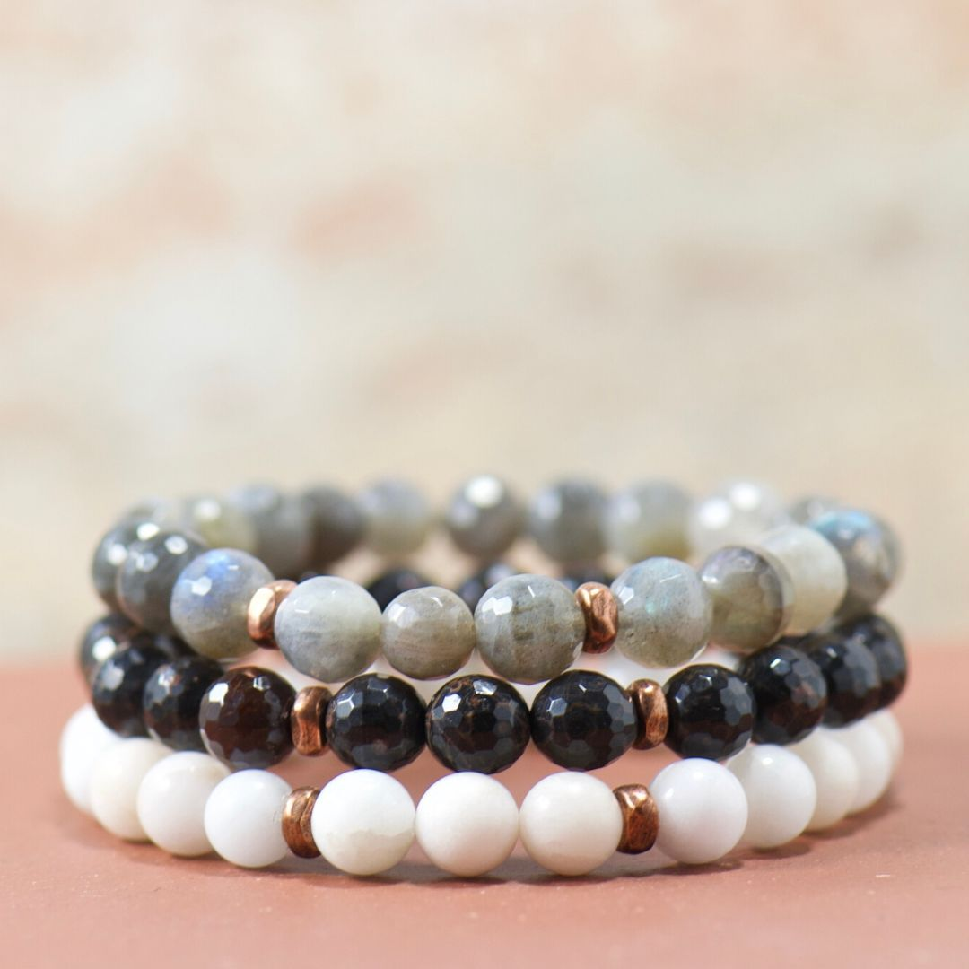 obsidian gemstone bracelet stack | boho gifts for her