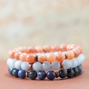 gemstone bracelet stack | boho chic style jewelry