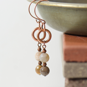 Tabitha Wood Opalite Earrings