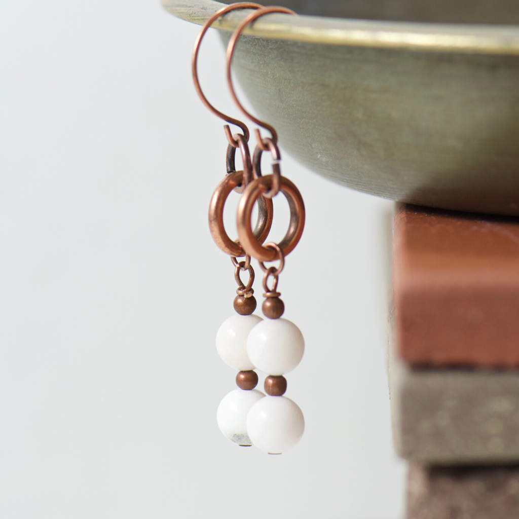 Tabitha White Agate Earrings