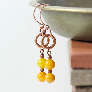 Tabitha Saffron Fire Agate Earrings