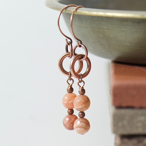 Tabitha Peach Moonstone Earrings