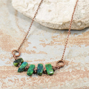 Green Cedar Sticks Necklace