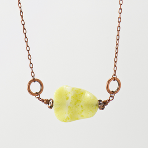 Big Basin Yellow Agate Gemstone Necklace - Bohemian Chic Jewelry