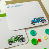 Boy's Vintage Tow Truck Personalized Note Card