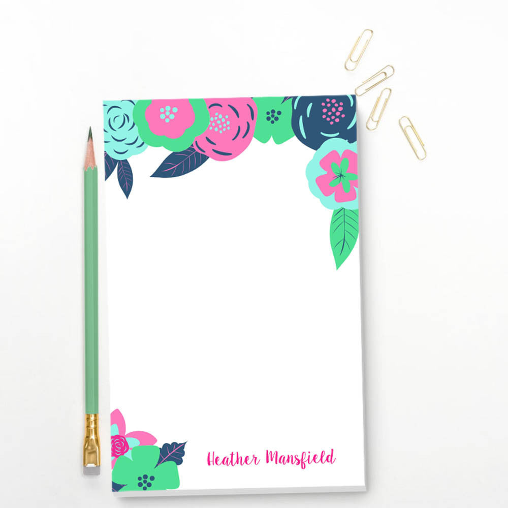 floral, personalized, notepad, custom, thoughtfilled