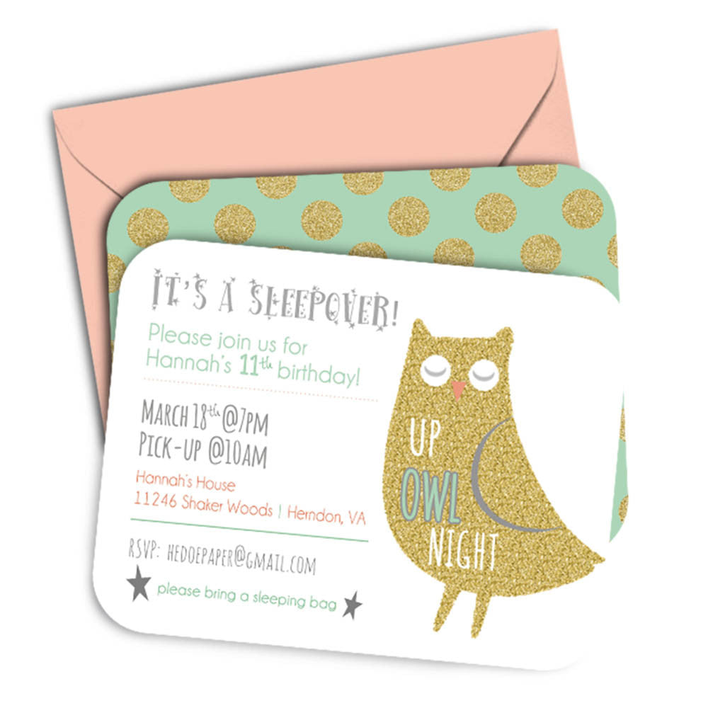 Girls Sleepover Birthday Party Invitation