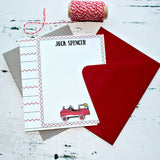 Boys Fire Truck Personalized Note Card