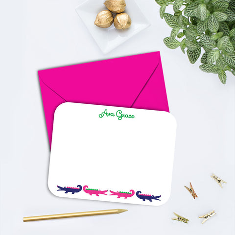 Preppy Alligator Personalized Note Card