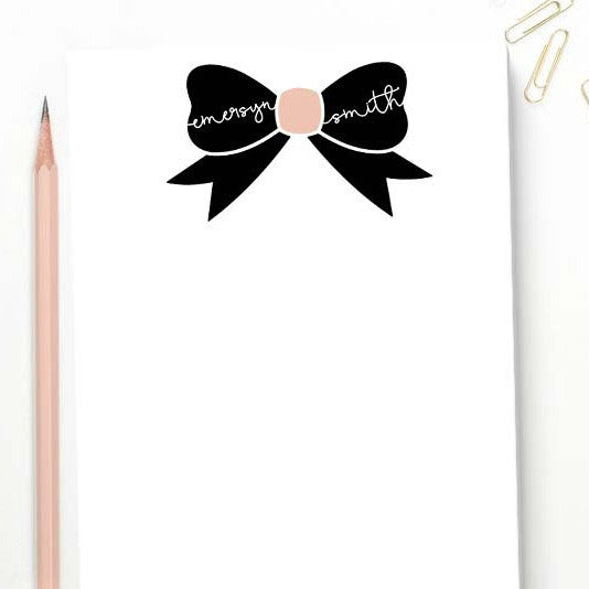 Striped Blush Bow Notepad