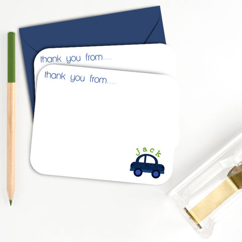 boy, car, customized, name, car, thankyou card