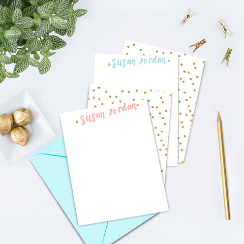 Gold Confetti Personalized Note Card