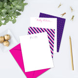 Preppy Modern Navy/Hot Pink Personalized Note Card