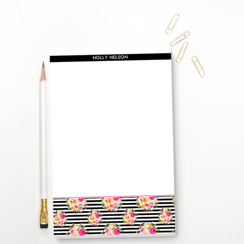 Floral Striped Personalized Notepad