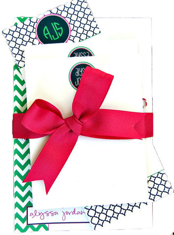 Preppy Personalized Notepad Gift Set