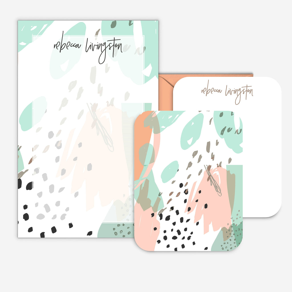 Mint Modern Personalized Abstract Stationery Set
