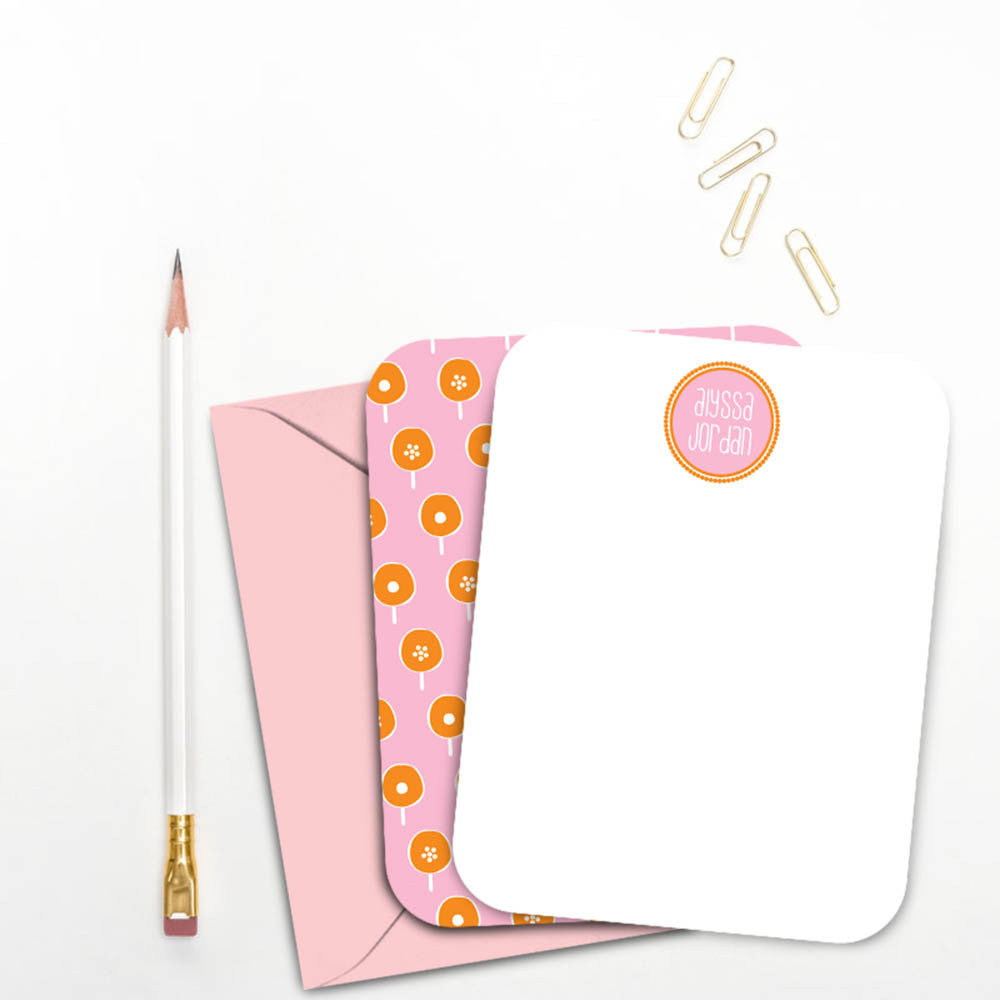 Pink and Orange Mod Personalized Note Card