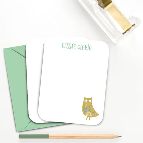 Owl Sleepover Personalized Thank You Note Card