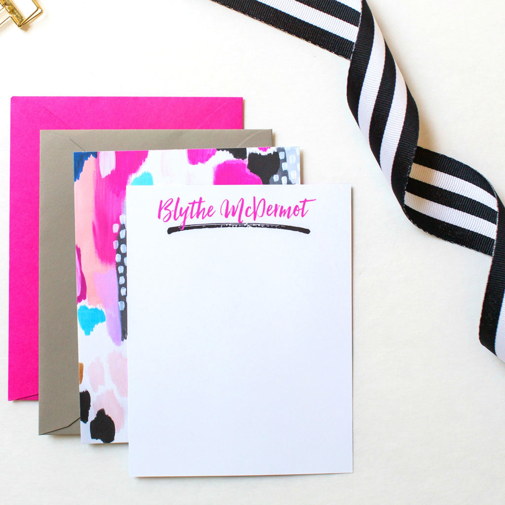 Hot Pink/Black Abstract Note Card