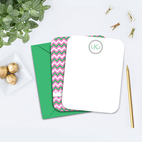 Pink and Green Chevron Note Card
