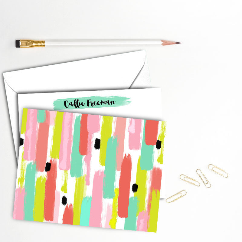 Fresh Color Watercolor Brush Note Card