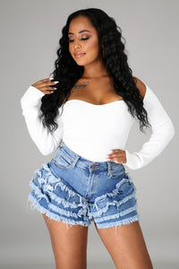 Layered Cake Denim Shorts