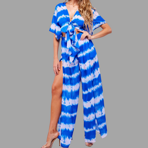 True Blue Tie-Dye Pants Set