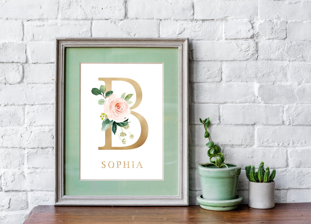Customized Alphabet Nursery Print with Watercolor Florals - Our Story Paper Co.