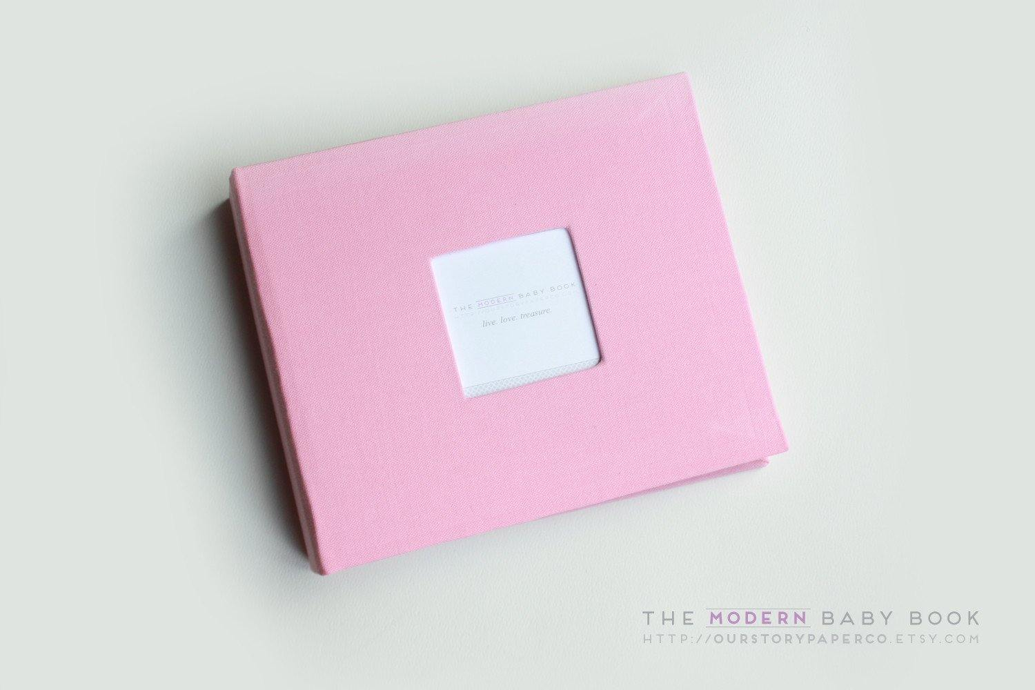 Bubblegum Pink Modern Baby Book - Our Story Paper Co.