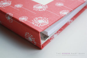 Coral Dandelion Modern Baby Book - Our Story Paper Co.