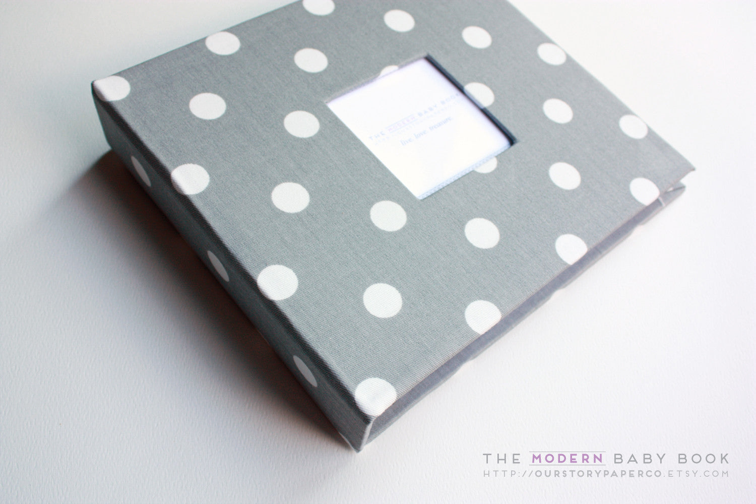 Gray Polka Dot Modern Baby Book - Our Story Paper Co.