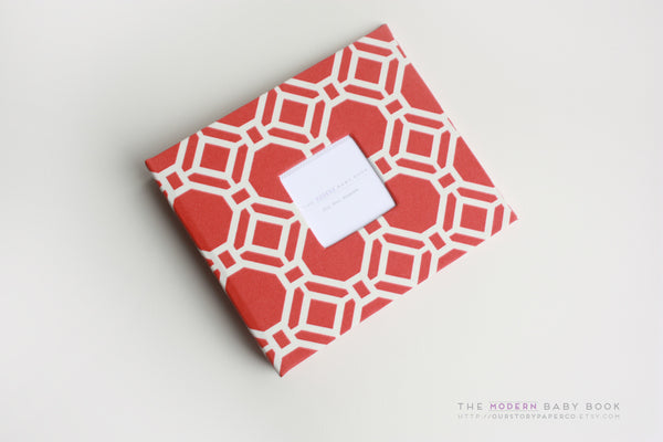 Red Tangerine Geometrics Modern Baby Book - Our Story Paper Co.
