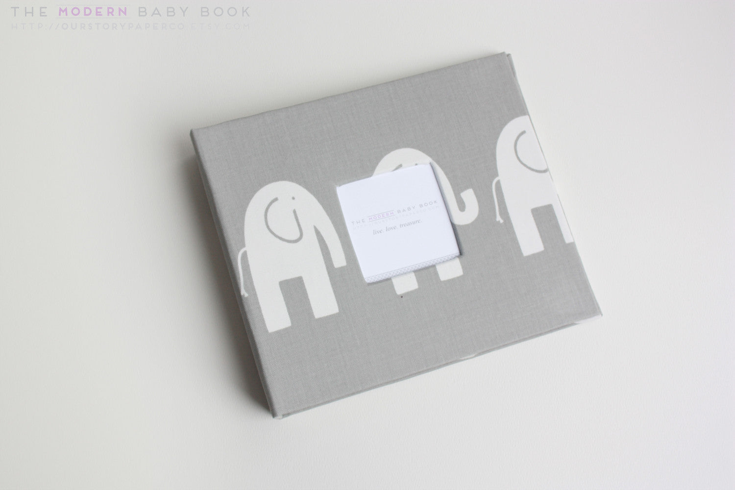 Gray Elephant Modern Baby Book - Our Story Paper Co.