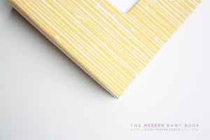 Yellow Lines Modern Baby Book - Our Story Paper Co.