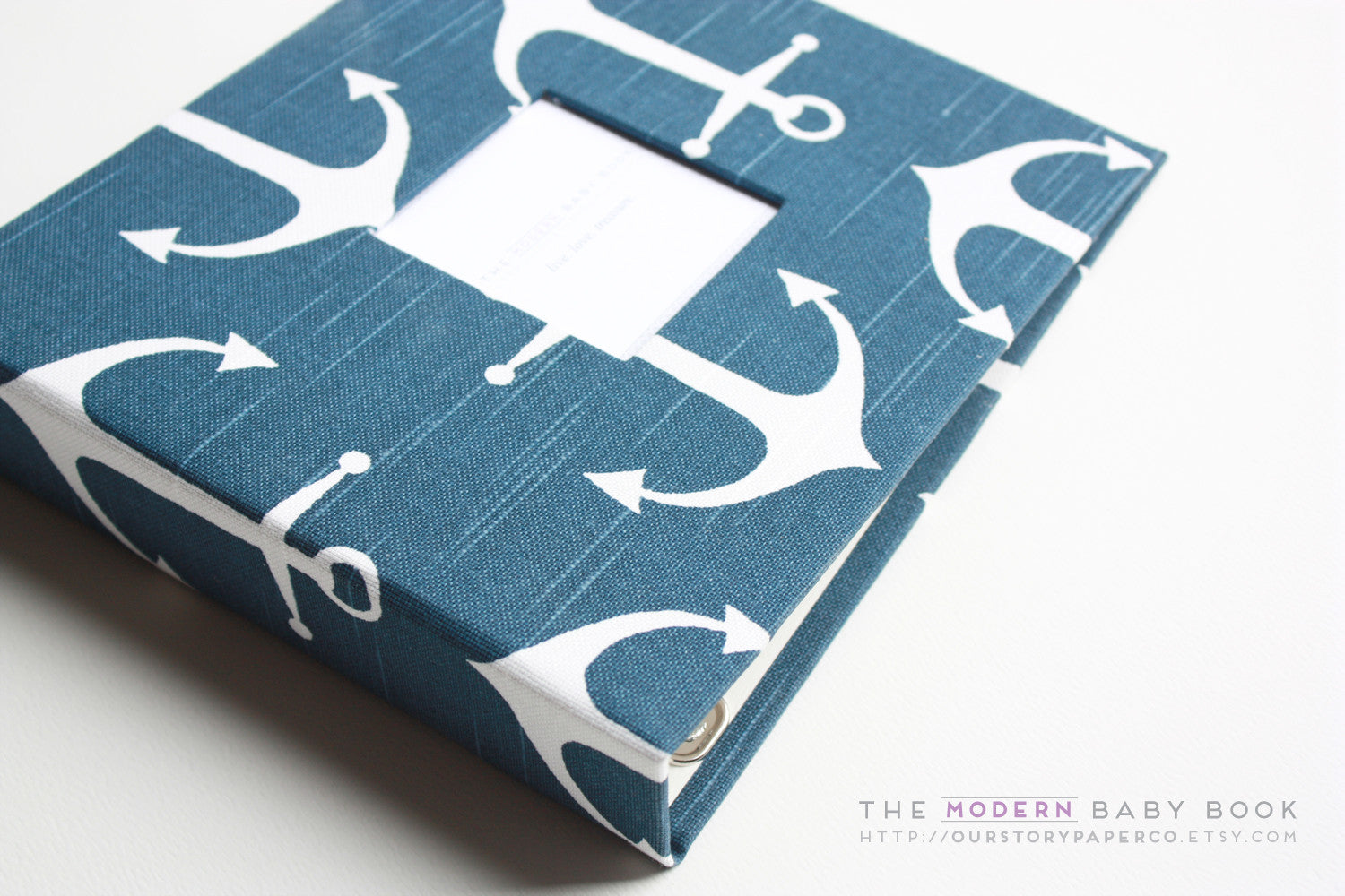 Navy Anchor Modern Baby Book - Our Story Paper Co.