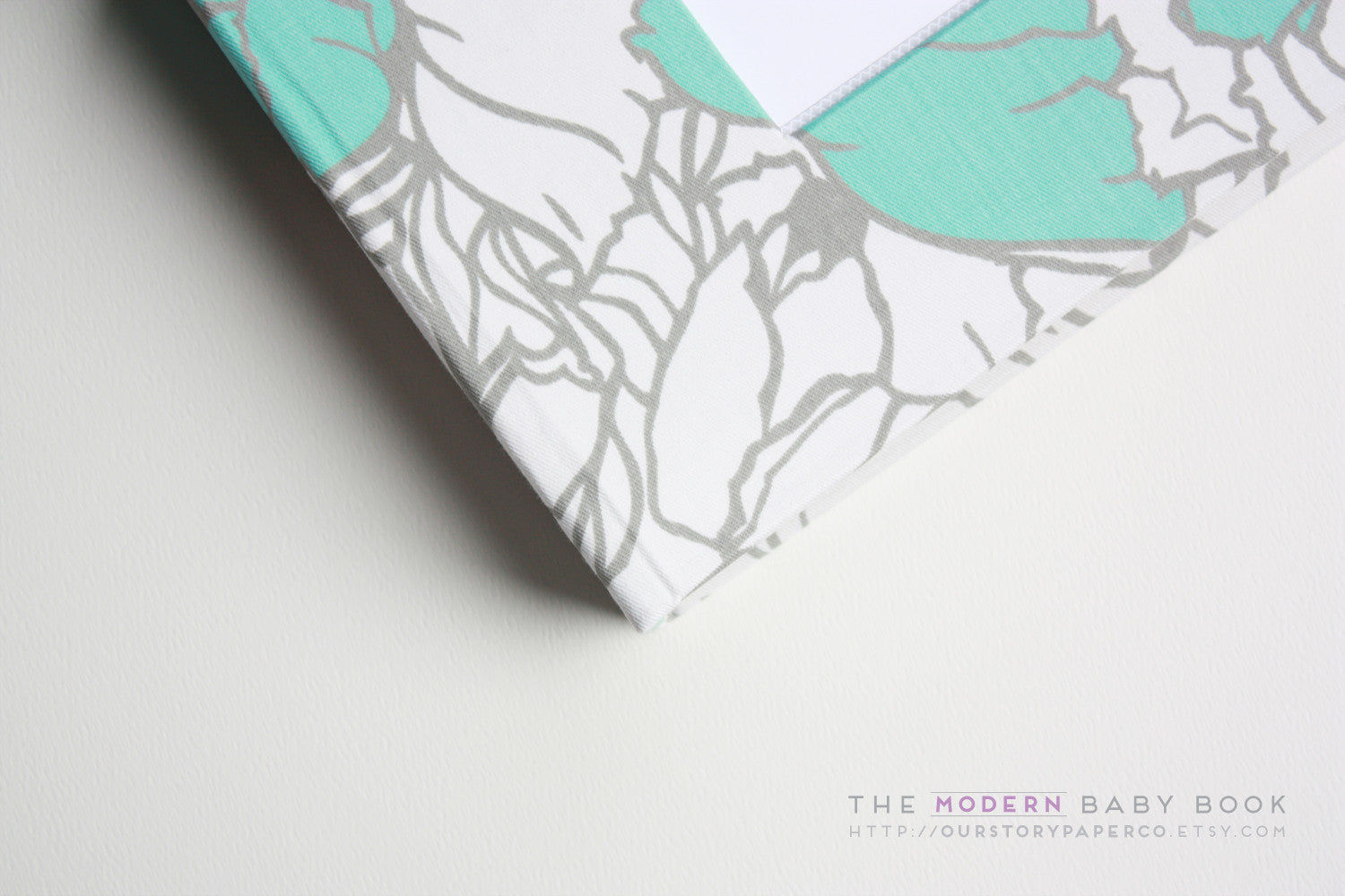 Teal Cottage Flowers Modern Baby Book - Our Story Paper Co.