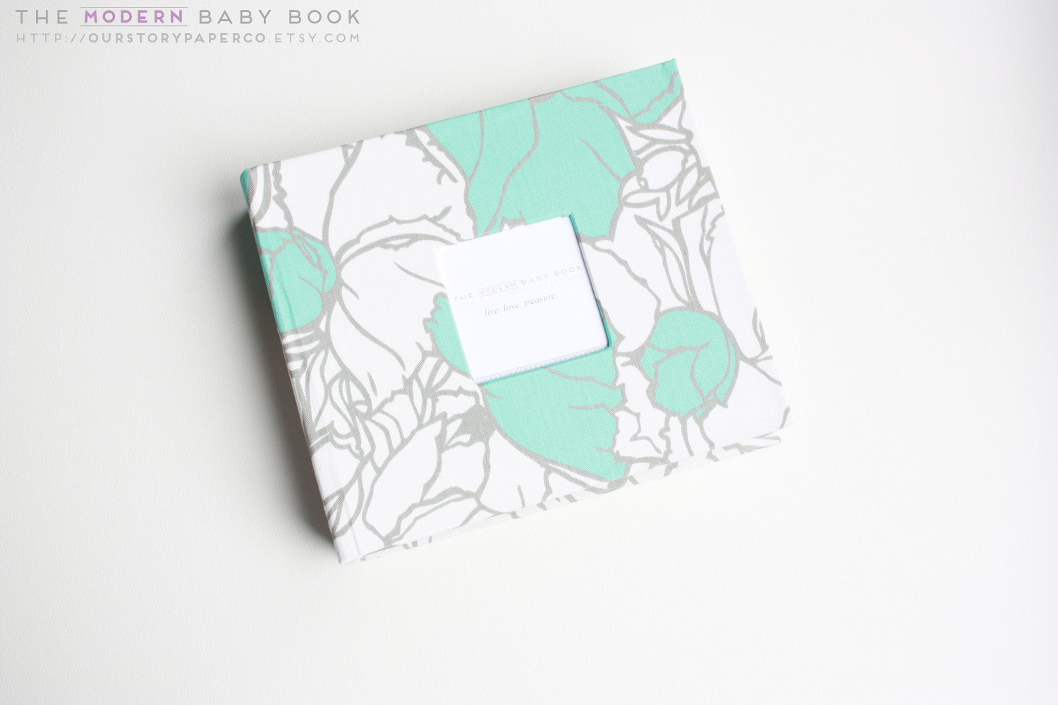 Teal Cottage Flowers Modern Baby Book