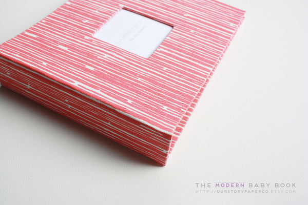 Coral Lines Modern Baby Book - Our Story Paper Co.