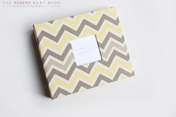 Natural Yellow and Gray Chevron Modern Baby Book - Our Story Paper Co.