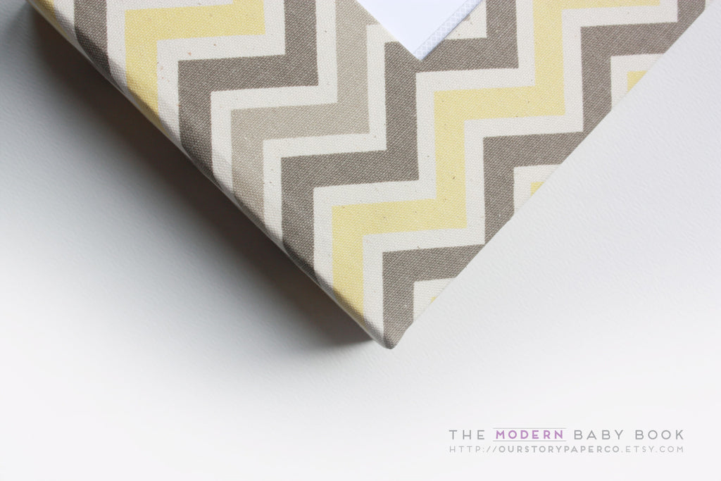 Natural Yellow and Gray Chevron Modern Baby Book