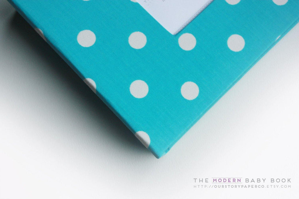 Aqua Polka Dot Modern Baby Book - Our Story Paper Co.