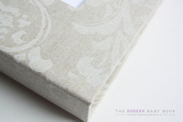 Natural Linen Damask Modern Baby Book - Our Story Paper Co.