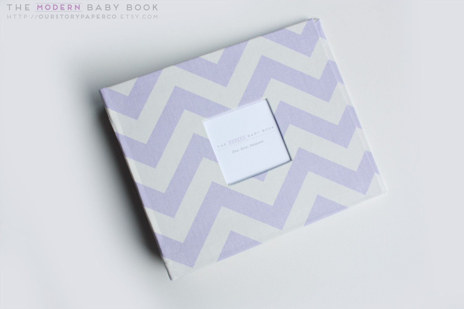 Lavender Chevron Modern Baby Book - Our Story Paper Co.