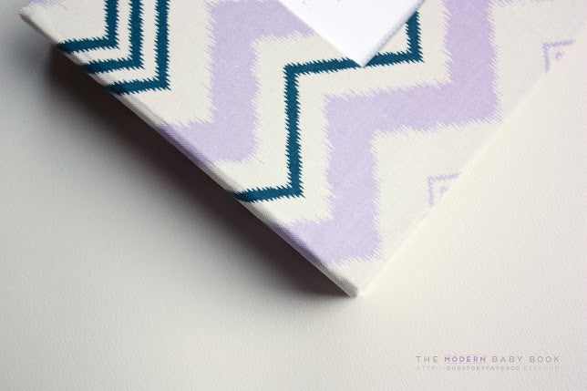 Lavender and Navy Scribble Chevron Modern Baby Book