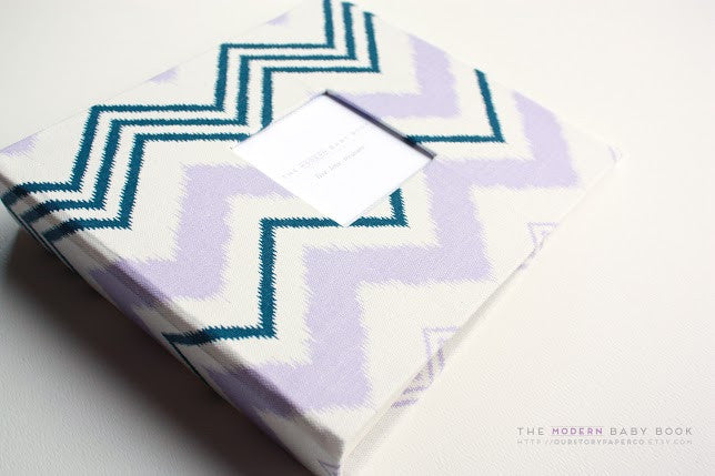 Lavender and Navy Scribble Chevron Modern Baby Book - Our Story Paper Co.