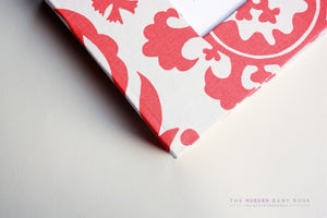 Coral Swirls Modern Baby Book - Our Story Paper Co.