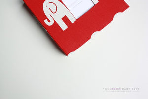 Red Elephant Modern Baby Book - Our Story Paper Co.